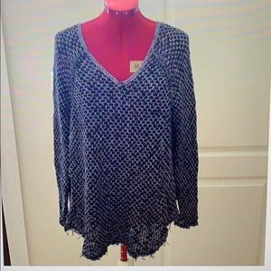Free People V Neck Honeycomb Knit Sweater